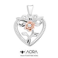 AORA JEWELRY - Liontin emas hati (PRINCESS ROSE PENDANT) 5P227