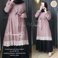 Baju Gamis Wanita Terbaru Maroco Dress Termurah - maroon