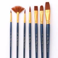 Kuas Lukis Cat Air Akrilik Set 7 pcs Oil Paint Brush - Biru