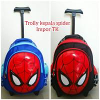 Tas trolly ransel sekolah anak laki TK 12 Spiderman kepala 3D