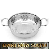 Panci Shabu Sukiyaki Grill Stainless Tutup Kaca
