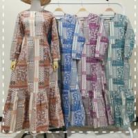 Gamis batik stretch terbaru warna pastel 3620