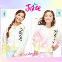 Baju Justice Original Jaket Hoodie Sweater Anak Logo Tie Dye Pink