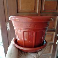 pot tanaman plastik warna coklat 14cm plus tatakan