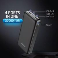 Powerbank Veger V20 20000 mAh 2 Port USB Warna Hitam