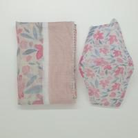 Paket 1B Lebaran Hampers: Premium Scarf Voal Square dan Masker Kain - Bunga Pink, Voal jahit