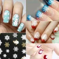 HN - Stiker Kuku Nail Art Snowflake & Snowman 3D Fingernail