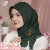 Jilbab segi empat Potton Stripe/ wafle Original by Koyu Hijab