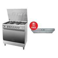 Kompor Ariston Freestanding Cooker A9GG1FCX Bonus Ariston Hood SL19PIX