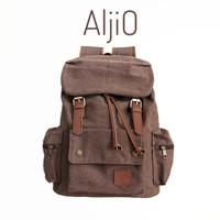 tas ransel backpack traveling laptop kanvas tebal pria aljio original - Cokelat