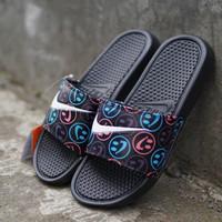 Nike sandals original benassi smile logo, not adidas the north face