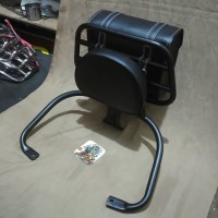 Back Rack veapa Lx & S plus tas bag hitam / Aksesoris Vespa