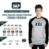 Kaos Raglan Lengan Panjang Combed 30s size XXL
