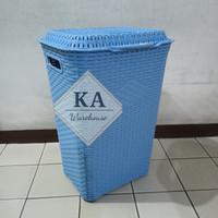 Keranjang Baju Laundry Basket Plastik Club Motif Rattan (Gojek/Grab)