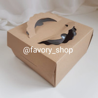 Mini Cake Box 14,5 x 14,5 Brown / Box Tart / Packaging 1 Toples 500gr