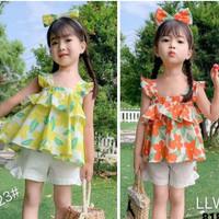 Ready Stock Setelan Baju Anak Import Cute Top Summer + Pants