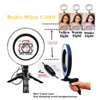 Ring Light LED 16cm Portable Vlog Make up Lampu Ringlight Tripod mini