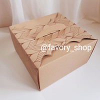 Cake Box 25 Kraft Brown Motif / Packaging Kue / Dus Kue / Gift Box