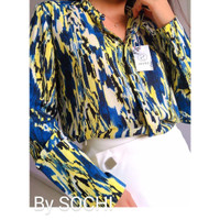 Blue Floral Long Sleeve Blouse - Size 36