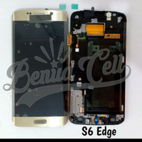 Samsung S6 Edge G925 LCD 1 Set 1Set Ori Kontras Gold Emas
