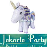 Balon Foil Unicorn 3D Full Body Ungu / Standing Balloon Kuda Pony