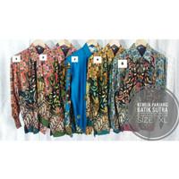 Kemeja Batik Pria Mewah Kemeja Batik Kombinasi Pria Modern Sutra