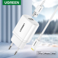 Ugreen 5v 2,1A MFI charger For Iphone with 1M cable White- Com50460
