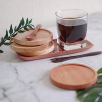 Tatakan gelas kayu wooden coaster bulat