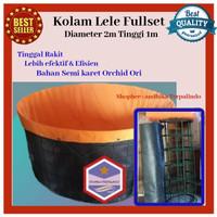 kolam terpal bulat Fullset D2T1m terpal kolam ikan kolam lele terpal