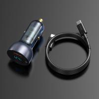 baseus car fast charger pd qc scp 3.0 65w digital kabel c to c laptop
