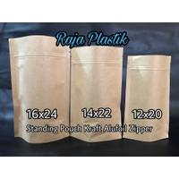 Standing Pouch Kraft Alufoil Zipper 12x20 /Kemasan kertas kraft snack