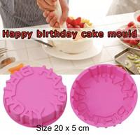 PANACHE Non Stick Silicone Happy Birthday Cake Mould Loyang Pudding