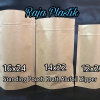 Standing Pouch Kraft Alufoil Zipper 14x22 / Kemasan Kertas Kraft snack