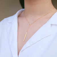 Drop chain necklace gold