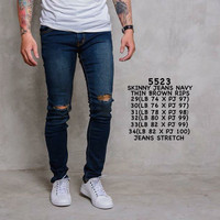 Celana Jeans Pria Casual Ripped P&B Navy thin brown