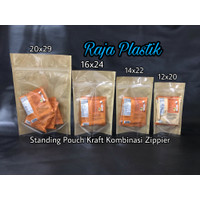 Standing Pouch Kraft Komb Zipper 20x29 / kemasan kertas snack