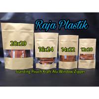 Standing Pouch Kraft Alu Window Zipper 14x22 / kemasan kertas snack