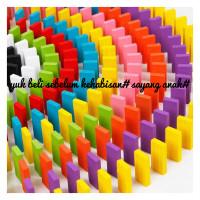 Mainan/balok warna domino kayu 120 pcs