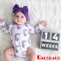 Unicorn Purple White Floral Baby Jumper Jumpsuit Romper Bayi