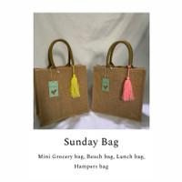Mini Tote Bag Goni Laminasi - Kuning dan Soft Pink