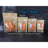 Standing Pouch Kraft Komb Zipper 14x22 / kemasan kertas snack