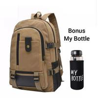 Ransel Pria Tas Backpack Laki Laki Tas Gendong Canvas Bonus My Bottle