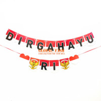 Banner DIRGAHAYU RI 3 / bunting flag HUT RI/ banner 17 agustus