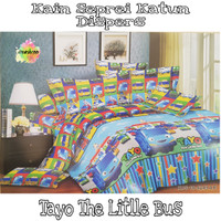 Kain Sprei Katun Disperse Motif Tayo The Little Bus Lebar 240cm