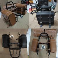 Back Rack kawasaki w175 plus tas side bag . behel belakang w175