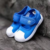 SEPATU SENDAL ANAK ADIDAS BIRU SUPERSTAR ORIGINAL KIDS BLUE WHITE
