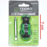 tekiro 2in1 stubby screwdriver ph2 obeng min plus cebol mini