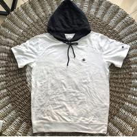Kaos Hoodie Lengan Pendek Champion White Original