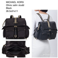 tas wanita michael kors olivia medium studded satin backpack black ci