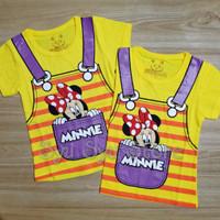 Baju Kaos Atasan Anak Perempuan Cewek Disney Minnie Mouse Overall - Ukuran Usia 1